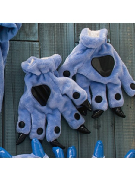 Dark blue Kigurumi Unisex Onesies Animal Hands Paw Flannel Cartoon Gloves
