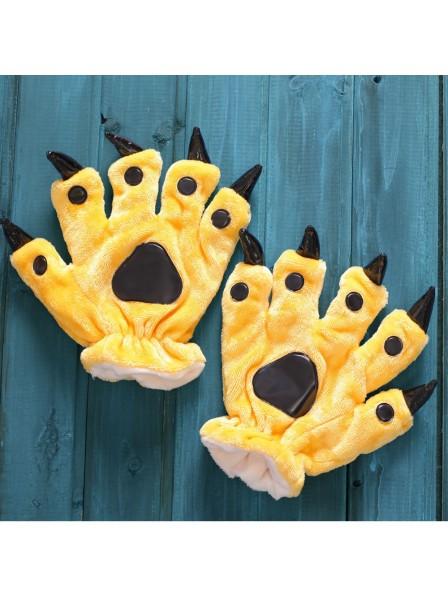 Yellow Kigurumi Unisex Onesies Animal Hands Paw Flannel Cartoon Gloves