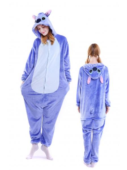 Blue Stitch Kigurumi Onesie Pajamas Soft Flannel Unisex Animal Costumes
