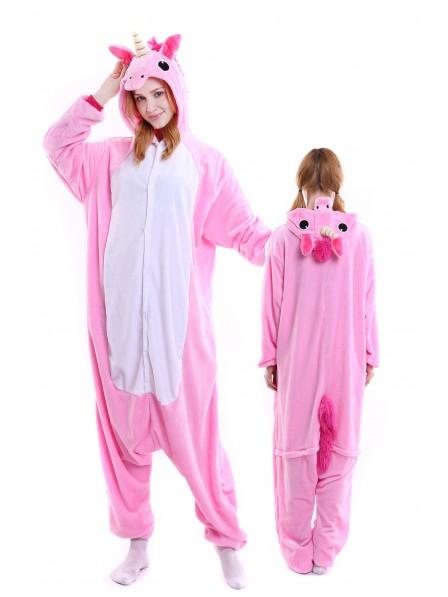 Pink Unicorn Kigurumi Onesie Pajamas Soft Flannel Unisex Animal Costumes