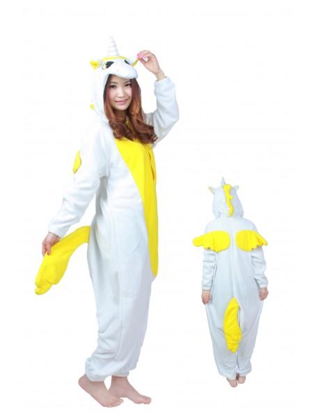 Yellow Unicorn Kigurumi Onesie Pajamas Soft Flannel Unisex Animal Costumes