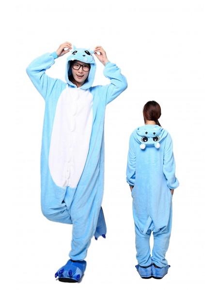 Blue Hippo Kigurumi Onesie Pajamas Soft Flannel Unisex Animal Costumes