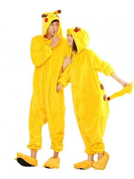 Pikachu Kigurumi Onesie Pajamas Soft Flannel Unisex Animal Costumes