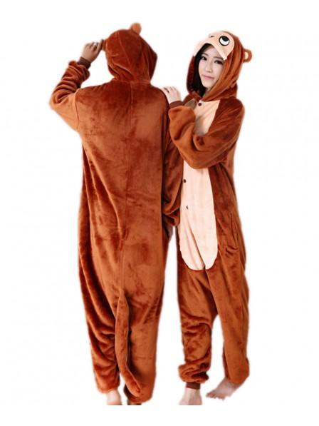 Brown Monkey Kigurumi Onesie Pajamas Soft Flannel Unisex Animal Costumes
