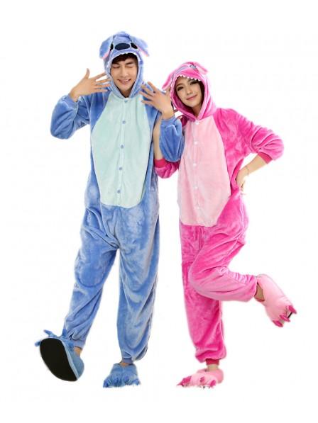 Pink Stitch Kigurumi Onesie Pajamas Soft Flannel Unisex Animal Costumes