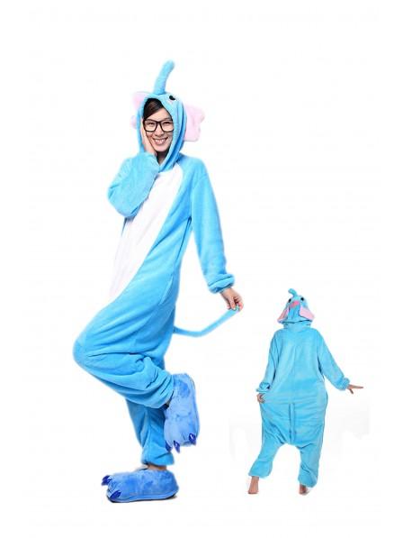 Blue Elephant Kigurumi Onesie Pajamas Soft Flannel Unisex Animal Costumes