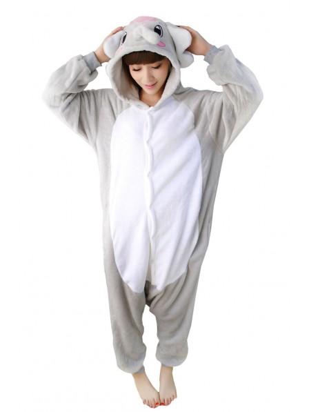 Grey Elephant Kigurumi Onesie Pajamas Soft Flannel Unisex Animal Costumes