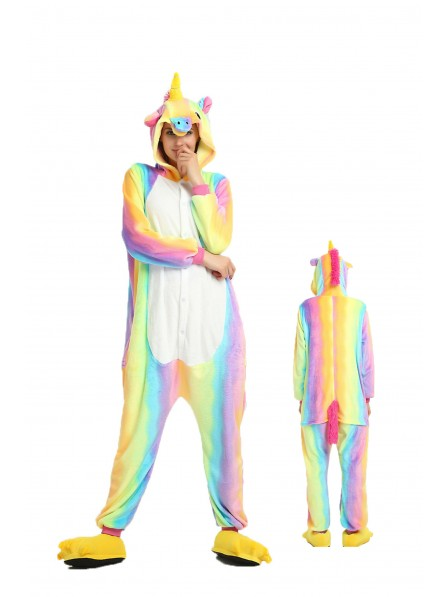 Rainbow Unicorn Kigurumi Onesie Pajamas Soft Flannel Unisex Animal Costumes