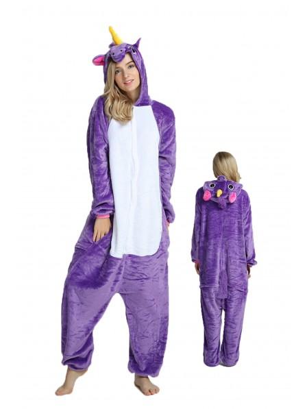Purple Unicorn Kigurumi Onesie Pajamas Soft Flannel Unisex Animal Costumes