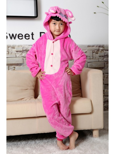 Pink Stitch Onesie Kigurumi Pajamas Kids Animal Costumes For Teens