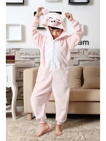 Pink Pig Onesie Kigurumi Pajamas Kids Animal Costumes For Teens
