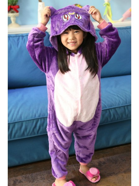 Purple Cat Onesie Kigurumi Pajamas Kids Animal Costumes For Teens