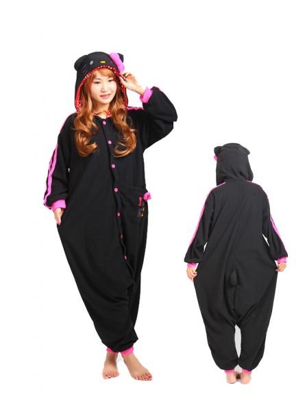 Black Hello Kitty Cat Kigurumi Onesie Pajama Animal Unisex Costumes