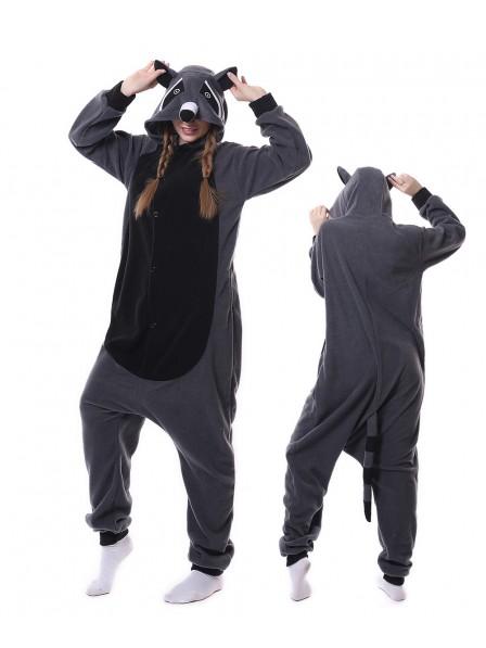 Grey Panda Raccoon Kigurumi Onesie Pajamas Animal Unisex Costumes