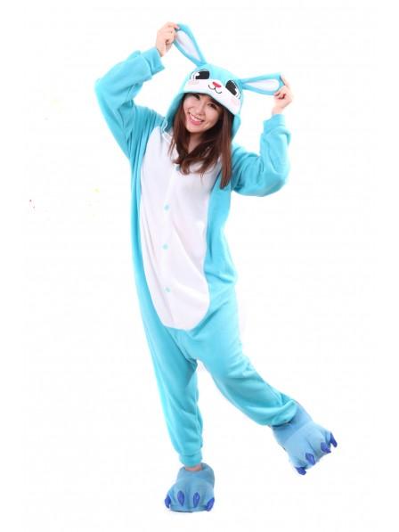 Blue Bunny Kigurumi Onesie Pajamas Animal Unisex Costumes