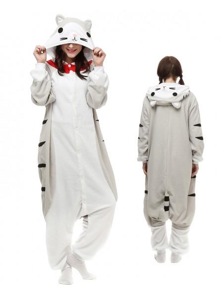 Cheese Cat Kigurumi Onesie Pajamas Polar Fleece Animal Unisex Costumes