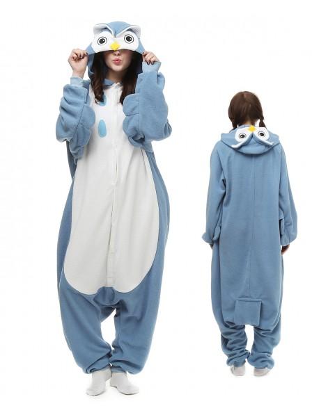 Blue Owl Kigurumi Onesie Pajamas Polar Fleece Animal Unisex Costumes