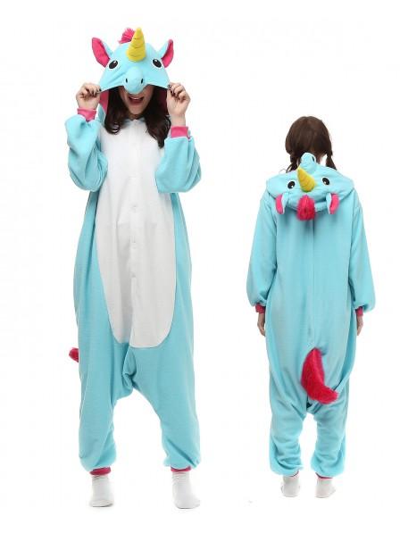 Blue Unicorn Kigurumi Onesie Pajamas Polar Fleece Animal Unisex Costumes