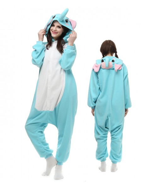 Blue Elephant Kigurumi Onesie Pajamas Polar Fleece Animal Unisex Costumes