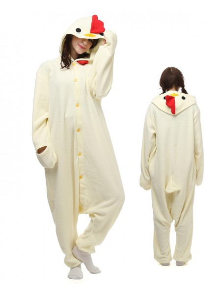 White Cock Kigurumi Onesie Pajamas Polar Fleece Animal Unisex Costumes