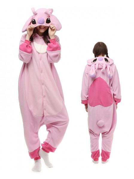 Stitch and Angel Kigurumi Onesie Pajamas Polar Fleece Animal Unisex Costumes