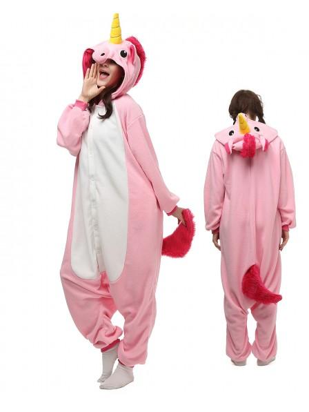 Pink Unicorn Kigurumi Onesie Pajamas Polar Fleece Animal Unisex Costumes