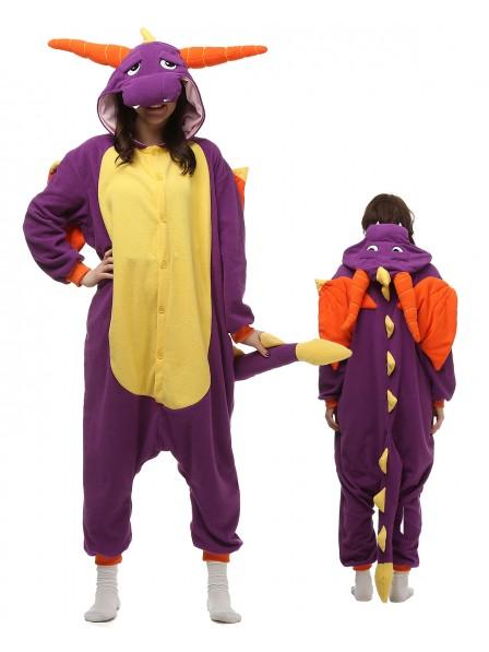 Purple Dragon Kigurumi Onesie Pajamas Polar Fleece Animal Unisex Costumes