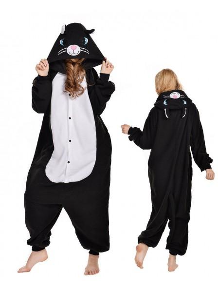 Black Cat Kigurumi Onesie Pajamas Polar Fleece Animal Unisex Costumes