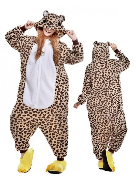Leopard Bear Kigurumi Onesie Pajamas Polar Fleece Animal Unisex Costumes
