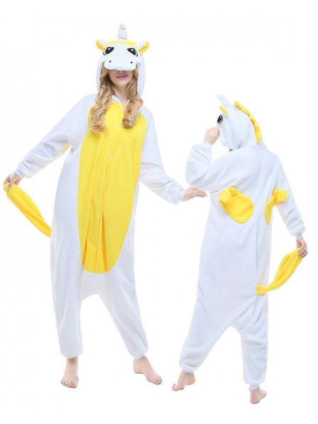 Yellow Unicorn Kigurumi Onesie Pajamas Polar Fleece Animal Unisex Costumes