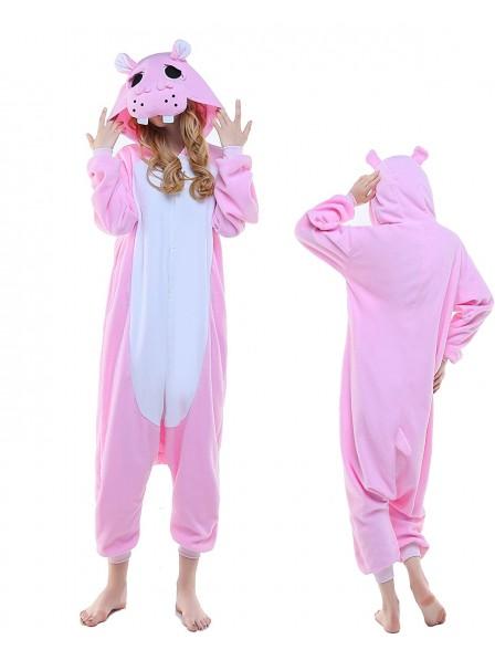 Pink Hippo Kigurumi Onesie Pajamas Polar Fleece Animal Unisex Costumes