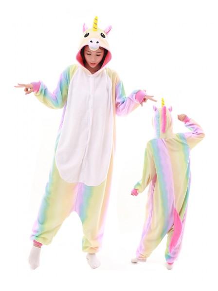 Pastel Hologram Rainbow Unicorn Kigurumi Onesie Pajamas Polar Fleece Animal Unisex Costumes