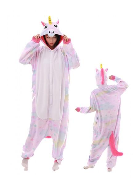 Pastel Dream Star Unicorn Kigurumi Onesie Pajamas Polar Fleece Animal Unisex Costumes