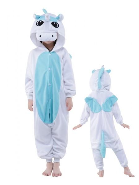 Blue Unicorn Onesie Kids Kigurumi Polar Fleece Animal Costumes For Teens