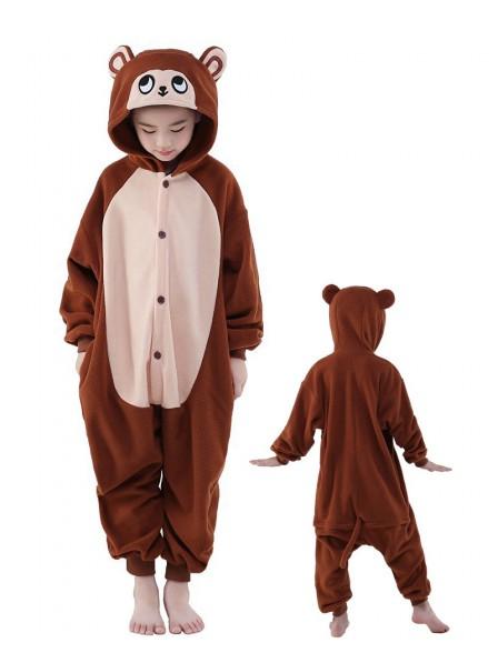 Brown Monkey Onesie Kids Kigurumi Polar Fleece Animal Costumes For Teens