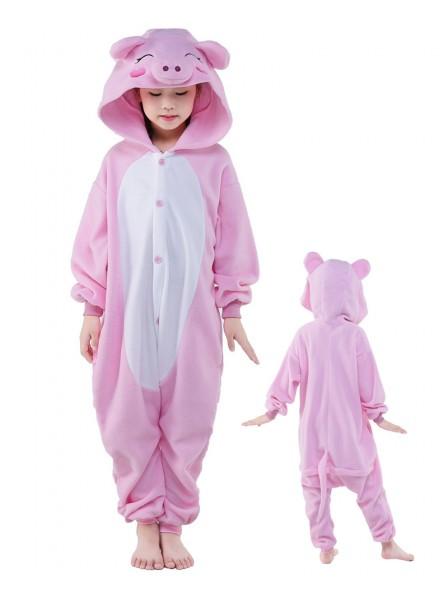 Pink Pig Onesie Kids Kigurumi Polar Fleece Animal Costumes For Teens